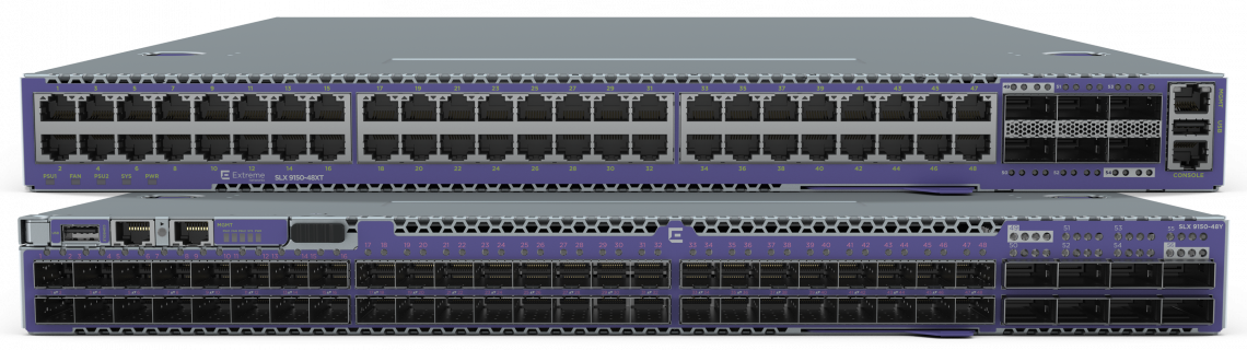 Compact fixed form, purpose-built high density 1/10/25/40/100 GbE cost-effective Leaf Switch SLX 9150   Extreme Networks Switching